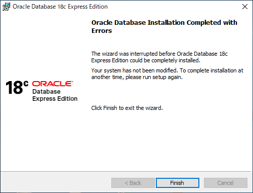 Oracle 18c Express Edition のインストールエラー画面